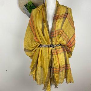 Mustard Gold Yellow plaid gauze scarf